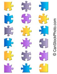 All possible shapes of jigsaw puzzle