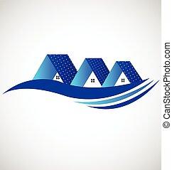 Casas, con, solar, panel, logotipo,