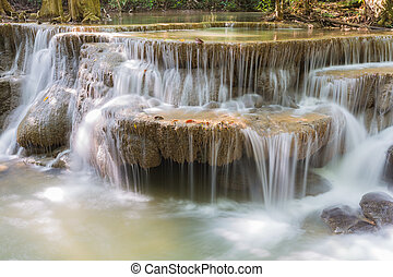 Blue stream water falls locate in deep forest jungle,...