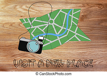 travel industry: camera and map illustration - city map and...