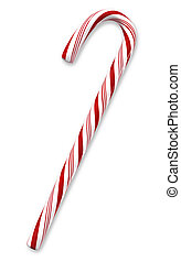 Traditional holiday candy cane isolated on white with clipping paths.