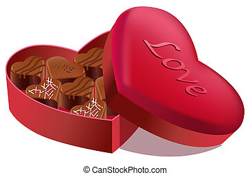 chocolate - some delicious chocolate in a heart shape box
