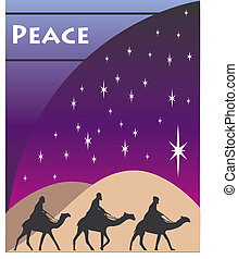 christmas wise men card - 3 Wise men kings in Bethlehem on...
