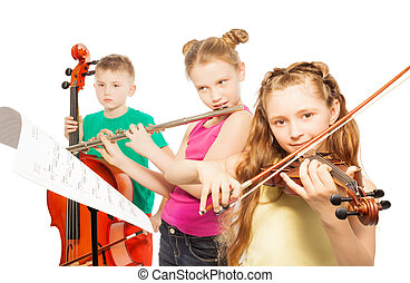 Kids play musical instruments on white background