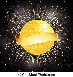 disco ball with banner on starburst
