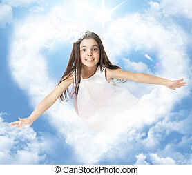 Girl flying through a heartshaped cloud - Little girl flying...