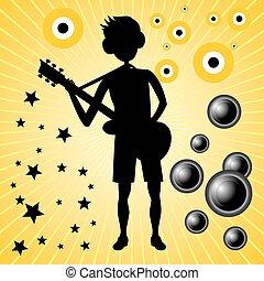 giovane, tipo, con, basso, chitarra,