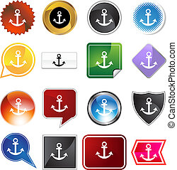 Anchor Variety Set - Anchor variety set isolated on a white...