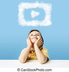 Little man dreaming about cloud shapes - Little man dreaming...