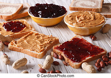 Sandwiches with peanut butter and jelly horizontal -...
