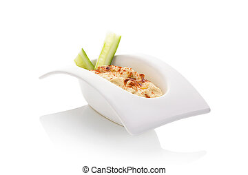Hummus - Hummus in white bowl isolate on white background...