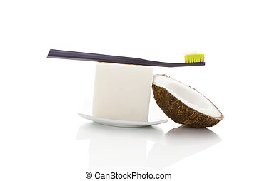 Natural oral hygiene. - Hard organic coconut oil with...