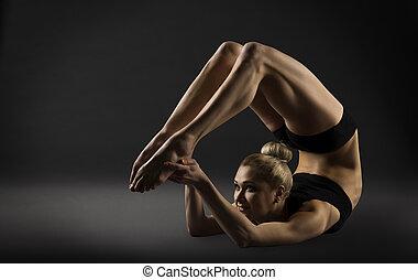 espalda, curva, extensión, postura, doblando, mujer,...