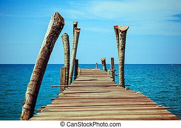 wooden pontoon - Walkway .  Pier over Waters. Wooden pontoon