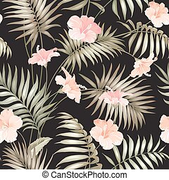 Hand draw tropical flower. Blossom flowers for seamless...