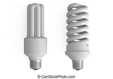 two compact fluorescent lamps - compact fluorescent lamps...