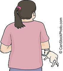 Woman in Pink Walking White Dog