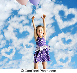 Little woman flying up to the sky