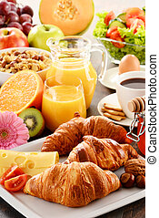 Composition with breakfast on the table. Balnced diet. -...