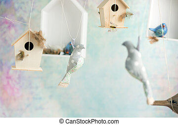 Vintage background with toy birds - Vintage background with...