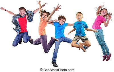 feliz, bailando, Saltar, niños, aislado, encima,...