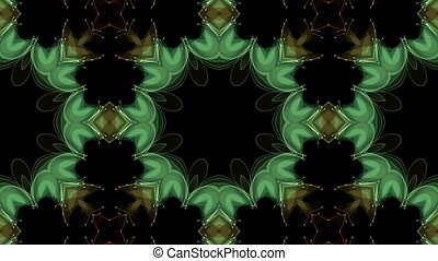 Transformation of brightly colored shapes on a black...