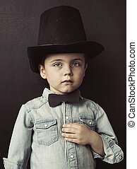 Portrait of a little serious gentleman - Portrait of a small...