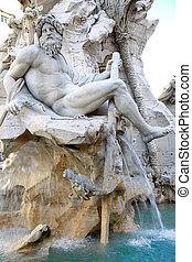 Piazza Navona in Rome, Italy - Fountain Zeus in Bernini's,...