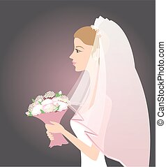 Bride with bouquet - Illustration of bride with bouquet of...