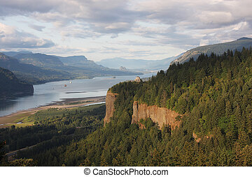 Columbia River Gorge and Vista house - A view of the...