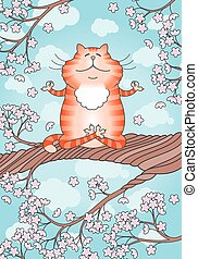 Cat practicing yoga on the cherry tree