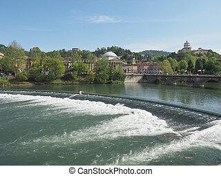 River Po Turin - Po River and Gran Madre church and...