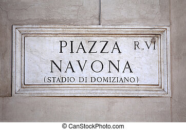 Piazza Navona sign in Rome, Italy - Piazza Navona sign on...