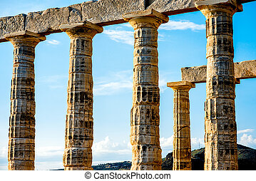 Poseidon temple in Greece - Architectural fragments of...