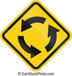 Traffic Circle Ahead In Colombia - Colombian road warning...