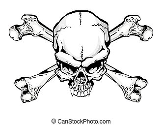 Skull and Crossbones on a white background Perfect for a...