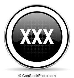 xxx icon, black chrome button, porn sign
