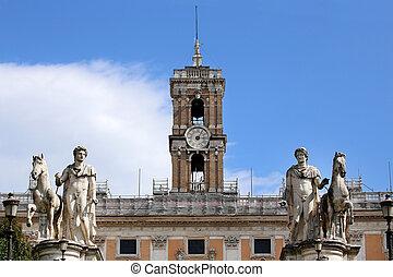 Statues of the Dioscuri on Piazza del Campidoglio in Rome, Italy