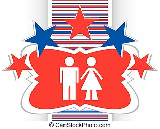 icon toilet button, Man and Woman vector