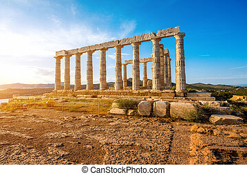 Poseidon temple in Greece - Poseidon temple landmark at the...
