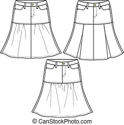 ladies denim skirts in three style