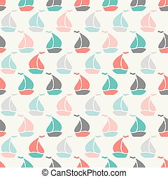 Sailboat shape seamless pattern Vector illustration for...