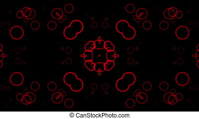 Flashing red circles on black background