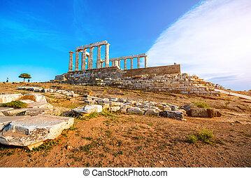 Poseidon temple in Greece - Poseidon temple landmark at the...