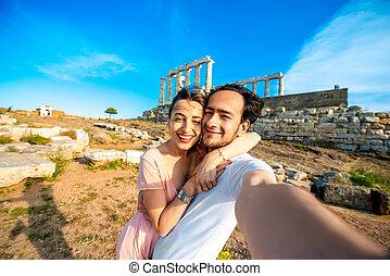turista, jovem, par, perto, Poseidon, Templo, em,...