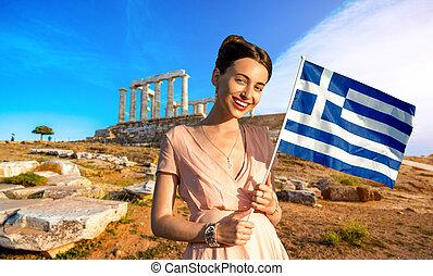 mulher, com, Grego, bandeira, ligado, antiga, ruínas,...