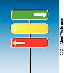 traffic signs - three traffic signs with arrows and blue...
