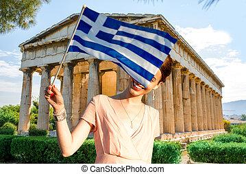 mujer, con, griego, bandera, en, Hephaistos, templo, Plano...