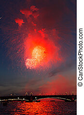 Celebration of the Victory Day in the Second World War in Saint-Petersburg, Russia on the 9th of May 2015 near Peter's and Paul Cathedral by colorful fireworks