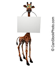 Cartoon giraffe holding blank sign. - A cute, goofy cartoon...